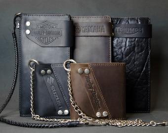 Wallet chain, leather wallet, long wallet, mens leather wallet, lanyard, minimal, custom, biker wallet, bifold wallet, Personalized Wallet