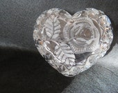 Vintage West German Bleikristall 24 lead crystal glass heart shaped trinket box with rose pattern, West German crystal, crystal trinket box