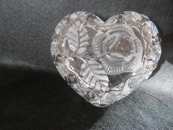 Beautiful Tritschler Winterhalder Vintage W Bleikristall 24/% Lead Crystal Germany Heart-Shaped Trinket Box