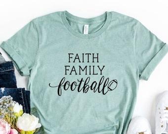 Faith Family & Football shirt, Fun Fall shirt, Cute Football T-shirt, Game Day Tee, Football Long-sleeve, Football Shirts for Women,Gift Tee