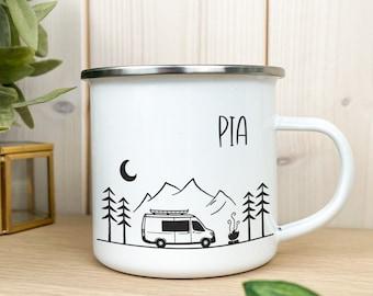 Enamel Cup / Mug - Personalized - Double Side Campervan Sprinter Vanlife Camping