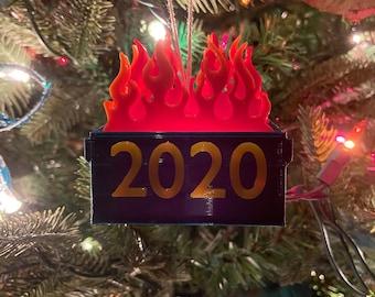 2020 Dumpster Fire Christmas Ornament Christmas Tree Wooden Pendants Decorations,Dumpster Souvenir Tree DIY Hanging Ornaments Gift Creative Decorating Kit Commemorate.