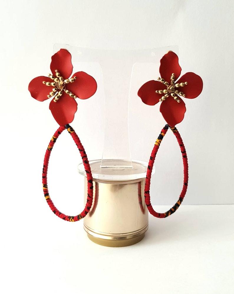 Wrapped African ankara fabric fashion statement flower petal dangle earrings