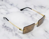 Vintage Gold Frame Rimless Sunglasses - Y2K Cartier Style Retro Rectangle Frameless Lens Pop Smoke Hip Hop Rapper Mens Womens Glasses