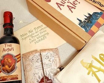 Harry Potter, gift box, personalized, gadget, birthday, gift ideas, clutch, bottle, malandrino map, Hogwarts, party box