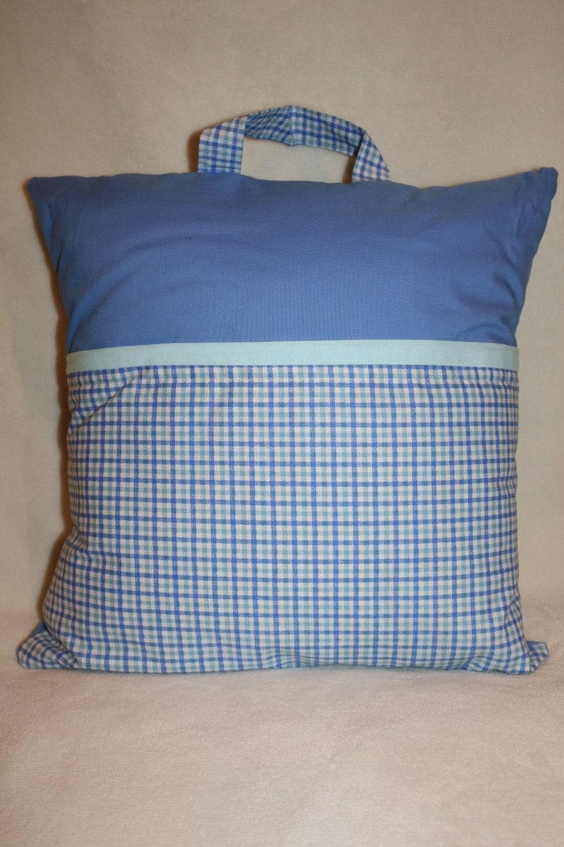 Cotton Pocket Reading Pillow \u2013 Blue Checkered