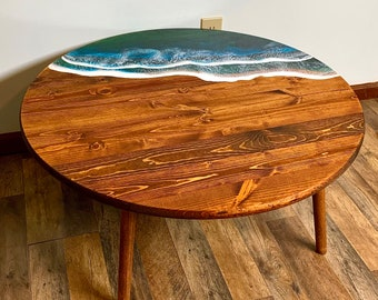 Round Gulf Ocean Wave Resin Coffee Table