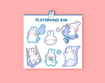 Playground Bun Mini Sticker Sheet | Playful Pastel bunny stickers for journals, planners, laptop and phone cases | pink, purple, blue