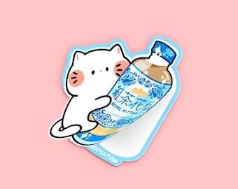 Royal Milk KitTEA Die Cut Sticker | Blue Asian Snack Drink Sticker, milk tea