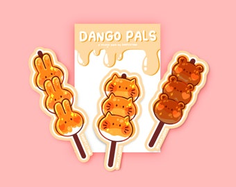 Dango Pals Die Cut Sticker Set Bundle | Asian, Japanese snack food for laptops, phone cases, journals, planners, binders - weatherproof