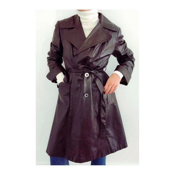 Vintage Italian Leather Trench Coat