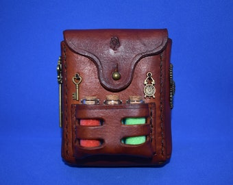 Steampunk / Alchemist Potion Pouch.  Handmade Leather Belt Pouch