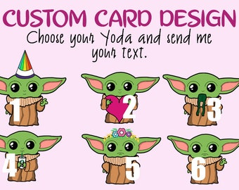 Custom Baby Yoda Greeting Card Design A6 Glossy