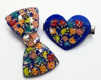 Vintage 80s Colorful Plastic PacMan Annie Bow Tie Crayon Kawaii Hair Barrette Clip Set