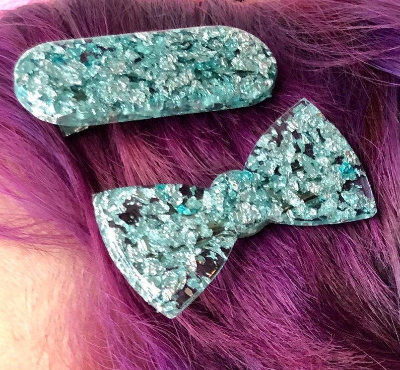 Clear teal and silver foil oval and bow 2 inch resin hair barrette set  Oval hair clip  Bow tie hair clip  2\u201d resin hair clip
