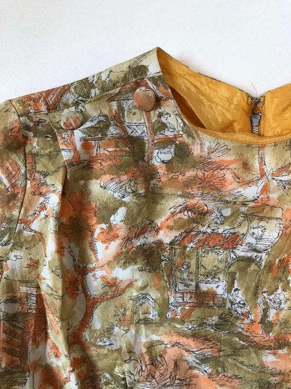 Day Dress | Peach Gold Brown | Toile | Vintage | H