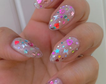 Set of 10pcs press on nails/clear/Holographic Sparkle Flakes/butterfly/Almond/Coffin/long Almond /long Ballerina/Square/Japanese nail