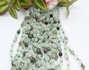 15.5 beautifull natural Green Lodalite  beads Fac round,Beading bead        F02060 jewelry supply  6mm.8mm.10mm