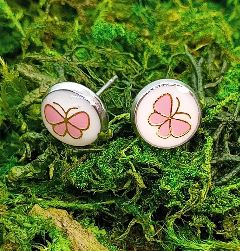 Pink white and silver Pink butterfly stud earrings
