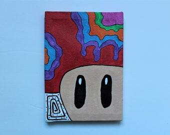 Super Mario - red powerup mushroom canvas painting