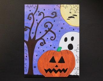 halloween painting, spooky painting, ghost painting, pumpkin painting
