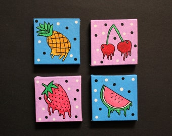 drippy fruit canvas magnet set