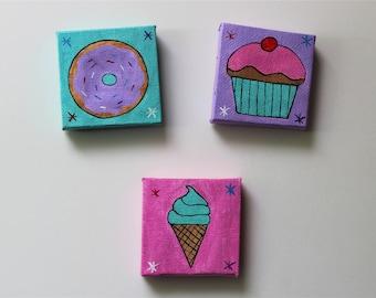 dessert canvas magnet set