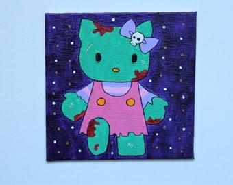 Zombie Hello Kitty canvas painting