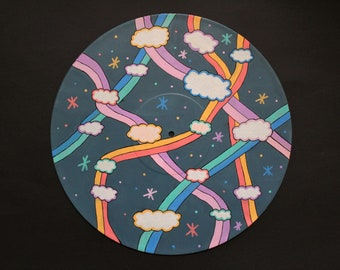 painted vinyl record / psychadelic painting / wall decor record
