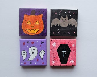 spooky canvas magnet set