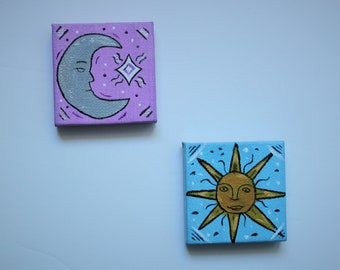 sun and moon canvas magnet set