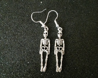 Silver Skeleton Dangling Drop Earrings hypoallergenic, stainless steel, sterling silver hooks