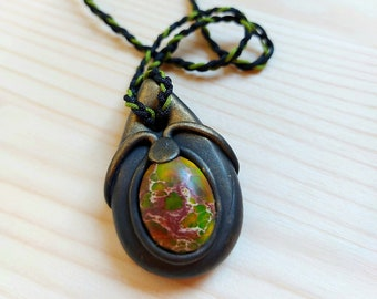 polimery clay macrame vikings clay jewelry,pendant macrame,necklace boho with clay healing jewelry