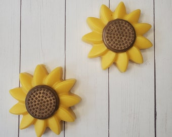 Set of Two Various Scented Goat's Milk Yellow Sunflower Soaps