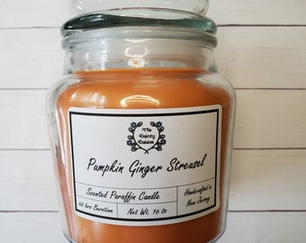 Pumpkin Ginger Streusel Scented Paraffin Wax Candle |16 oz | Single Wick