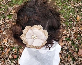 Burlap Peony Flower Headband