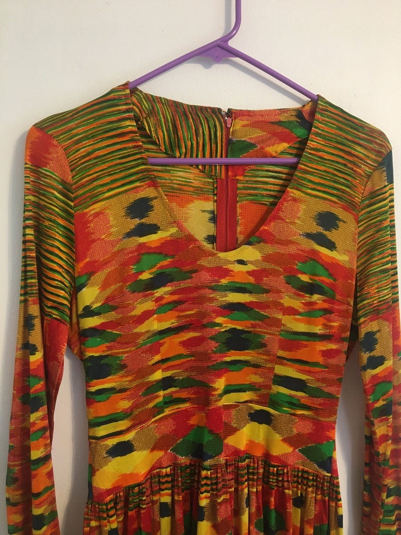 Vintage 70\u2019s Abstract Printed Dress Long Sleeves Crazy Art Print Missoni Style Space Dye Orange Yellow Green Blue Trippy Psychedelic Small S