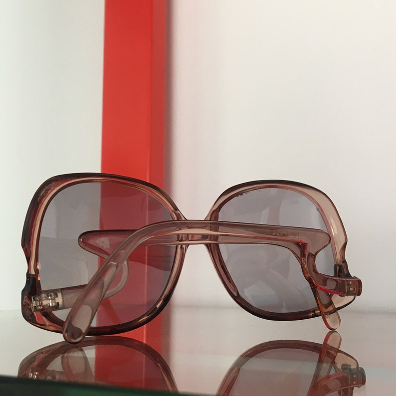 Vintage 70/'s Oversize Smoky Sunglasses Deadstock w Curvy Side Detail