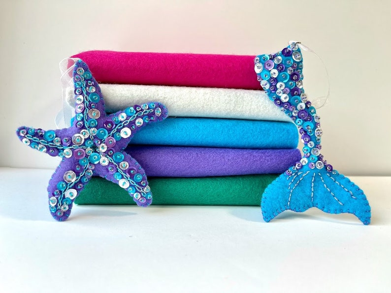 Mermaid Dreams Felt Color Set 9 x 12 Wool Felt