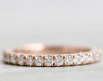 0.70 Carat Eternity Ring, Round Diamond Eternity Band, Full Eternity Ring, Stackable Ring, Diamond Wedding Ring, Anniversary Ring, Eternity