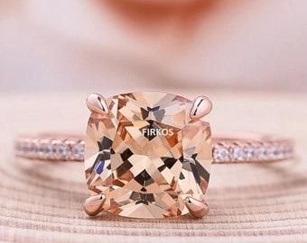 6mm Cushion Cut Morganite Engagement ring rose gold,925 sterling silver stacking wedding band,Bridal ring,Women Halo ring,hidden halo,Pave