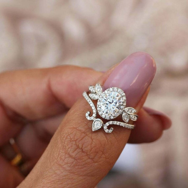 Wedding-Bridal Ring Set Halo Floral Inspired Ring With Vintage Eternity Band 925 Silver Band Oval Cut Diamond Engagement Ring Set