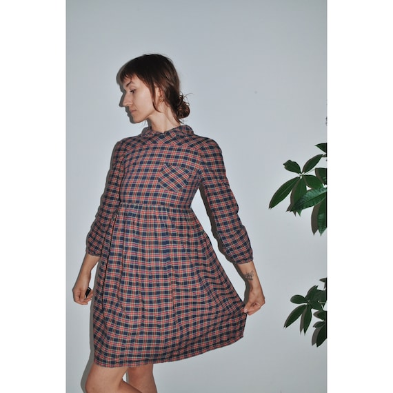 90s Vintage Tartan Baby Doll Dress