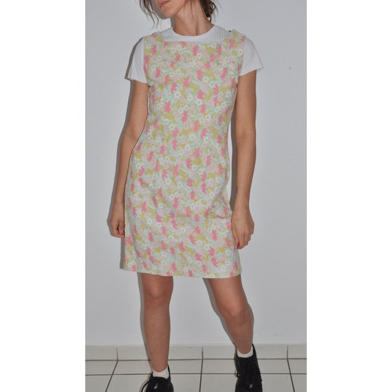 70s Vintage Pastel Floral Print Dress