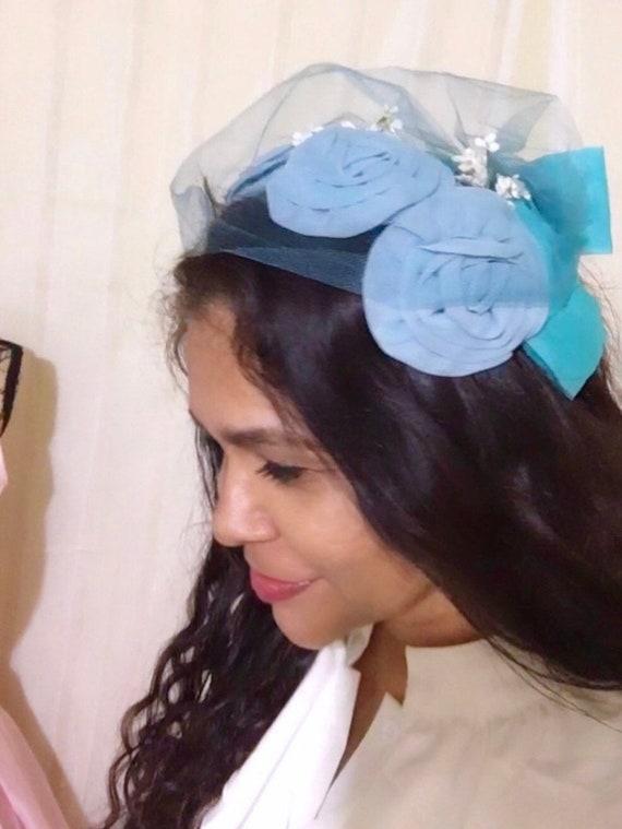 1950s Vintage Chiffon fascinator hat , Wedding hat