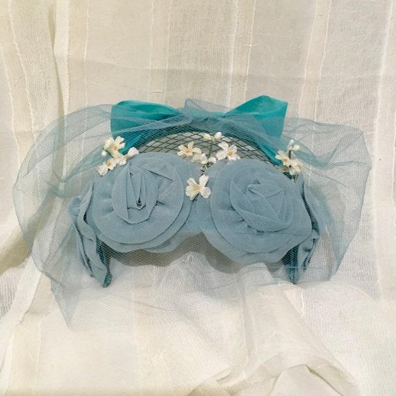 1950s Vintage Chiffon fascinator hat , Wedding ha… - image 5