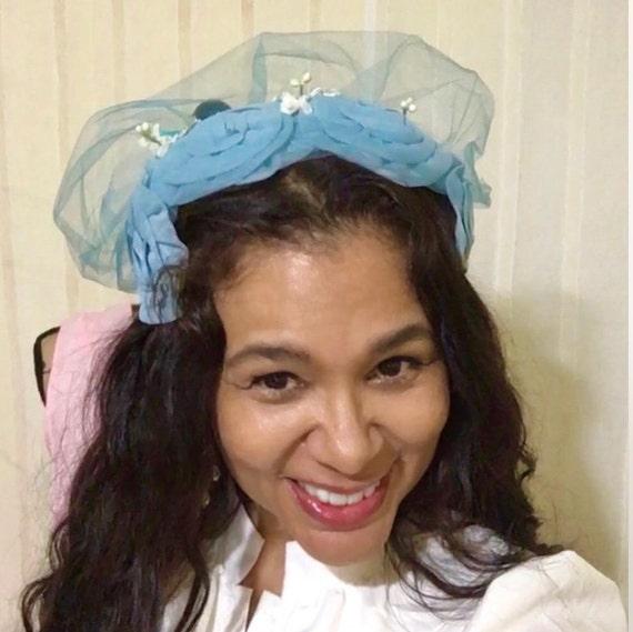 1950s Vintage Chiffon fascinator hat , Wedding ha… - image 9