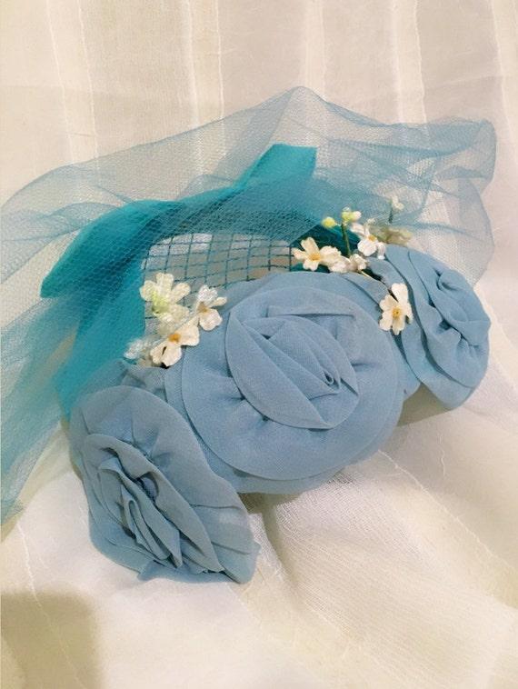 1950s Vintage Chiffon fascinator hat , Wedding ha… - image 3