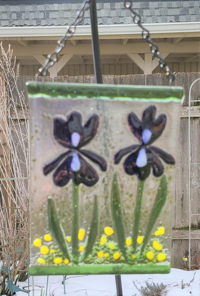 Fused Glass Garden HangerWindow HangerSuncatcher-Purple Irises