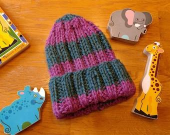 Baby Raspberry Teal Alpaca Striped Hat